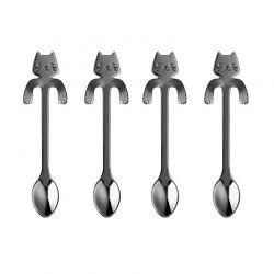 Σετ Κουταλάκια Τσαγιού σε Σχήμα Γάτας 4 τμχ MWS16542-Grey