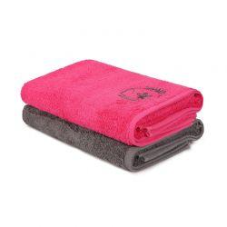 Σετ με 2 Πετσέτες Μπάνιου 70 x 140 cm Χρώματος Φούξια - Σκούρο Γκρι Beverly Hills Polo Club 355BHP2458
