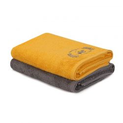 Σετ με 2 Πετσέτες Μπάνιου 70 x 140 cm Χρώματος Μουσταρδί - Σκούρο Γκρι Beverly Hills Polo Club 355BHP2608