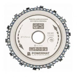 Δίσκος Κοπής Ξύλου με Αλυσίδα 125 x 22.2 mm και 14 Δόντια για Γωνιακό Τροχό POWERMAT TLDD-125x22.2x14Z