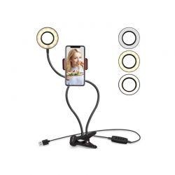 LED Φωτιστικό Δαχτυλίδι 3.5 ″ με Εύκαμπτο Βραχίονα και Βάση Κινητού Τηλεφώνου 68 cm GEM BN2278