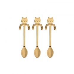 Σετ Κουταλάκια Τσαγιού σε Σχήμα Γάτας 3 τμχ Χρώματος Χρυσό SPM DB7427