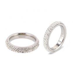 Δαχτυλίδι με 3 Σειρές από Κρύσταλλα Swarovski® Χρώματος Ασημί Beloved 652051