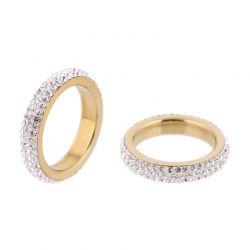 Δαχτυλίδι με 3 Σειρές από Κρύσταλλα Swarovski® Χρώματος Χρυσό Beloved 652051