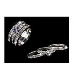 Σετ Δαχτυλίδια με Κρύσταλλα Swarovski® 3 τμχ Χρώματος Ασημί Beloved 652075