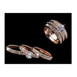 Σετ Δαχτυλίδια με Κρύσταλλα Swarovski® 3 τμχ Χρώματος Ροζ - Χρυσό Beloved 652075