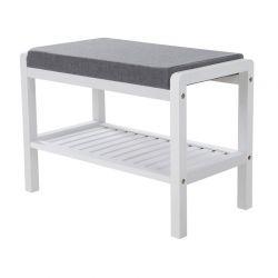 Ξύλινη Παπουτσοθήκη από Μπαμπού με Κάθισμα και 1 Ράφι 60 x 32 x 43 cm Songmics LBS65WN