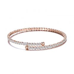 Βραχιόλι Philip Jones Χρώματος Ροζ - Χρυσό με Κρύσταλλα Swarovski®