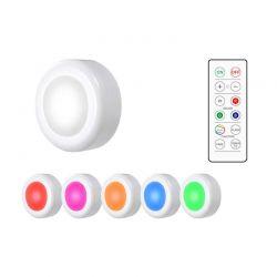 Σετ Ασύρματα LED Σποτάκια με Τηλεχειριστήριο και Εναλλαγή Χρωμάτων 6 τμχ SPM DYN-5059059076851