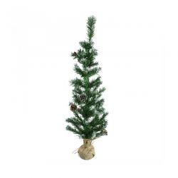 Χριστουγεννιάτικο Δέντρο 90 cm με Κουκουνάρια και Βάση Λινάτσα MWS17662