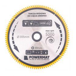 Δίσκος Κοπής Ξύλου 305 x 30 mm με 100 Δόντια για Κυκλικά Πριόνια Τραπεζιού POWERMAT TDD-305x30x100Z