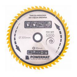Δίσκος Κοπής Ξύλου 305 x 30 mm με 48 Δόντια για Κυκλικά Πριόνια Τραπεζιού POWERMAT TDD-305x30x48Z