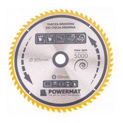 Δίσκος Κοπής Ξύλου 305 x 30 mm με 60 Δόντια για Κυκλικά Πριόνια Τραπεζιού POWERMAT TDD-305x30x60Z
