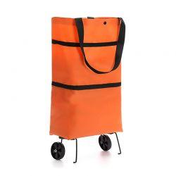 Επαναχρησιμοποιούμενη Πτυσσόμενη Τσάντα Αγορών με Ρόδες Χρώματος Πορτοκαλί GEM BN5608