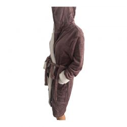Γυναικεία Fleece Ρόμπα με Εσωτερική Επένδυση και Κουκούλα Χρώματος Μωβ SPM E9541-PURPLE