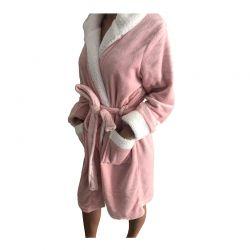 Γυναικεία Fleece Ρόμπα με Εσωτερική Επένδυση και Κουκούλα Χρώματος Ροζ SPM E9541-PINK