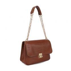Γυναικεία Τσάντα Ώμου Κροκό με Αλυσίδα Χρώματος Καφέ Laura Ashley Devonia 651LAS1815
