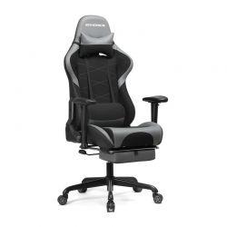 Καρέκλα Gaming με Υποπόδιο Χρώματος Γκρι Songmics RCG52BG