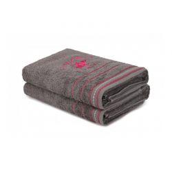 Σετ με 2 Πετσέτες Μπάνιου 70 x 140 cm Χρώματος Σκούρο Γκρι Beverly Hills Polo Club 355BHP2466
