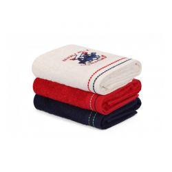 Σετ με 3 Πετσέτες Προσώπου 50 x 90 cm Χρώματος Λευκό - Κόκκινο - Μπλε Beverly Hills Polo Club 355BHP2348