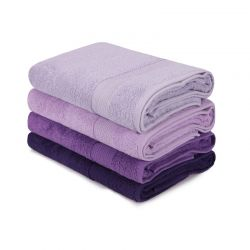 Σετ με 4 Πετσέτες Μπάνιου 70 x 140 cm Χρώματος Μωβ Beverly Hills Polo Club 355BHP2615