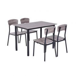 Σετ Μεταλλικό Ορθογώνιο Τραπέζι 110 x 70 x 75 cm με 4 Καρέκλες HOMCOM 835-084GY