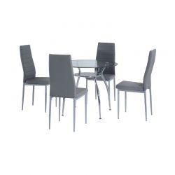 Σετ Μεταλλικό Στρογγυλό Τραπέζι 90 x 75 cm με 4 Καρέκλες HOMCOM 835-033GY